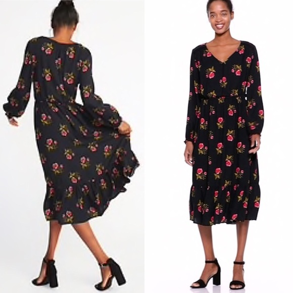 Nwt Old Navy Floral Waist Defined Crepe Midi Dress Nwt